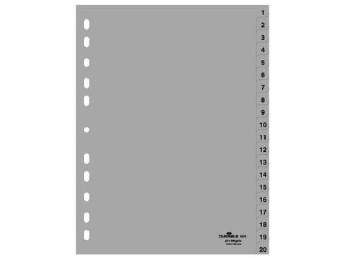Preisvergleich Produktbild DURABLE KunststoffRegister, Zahlen, A4, 20teilig, 1 20