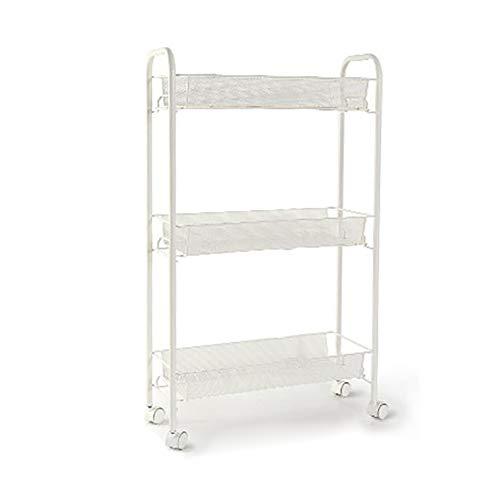 HOOPOO Shelves Regale 3-Tier-Küche Gesteppte Lagerregal Mobile Ablagefach Kühlschrank Seite multifunktionale Kunststoff Eckrahmen 48 * 17 * 77cm (Bücherregal Cube Speicher)