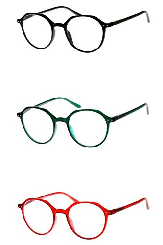 Lesebrille rund mit schönen großen Gläsern in rot grün schwarz für Damen Herren leicht Kunststoff schmale Bügel xl Lesehilfe Sehhilfe alle Dioptrien, Dioptrien:Dioptrien 3.0, Farbe:Grün