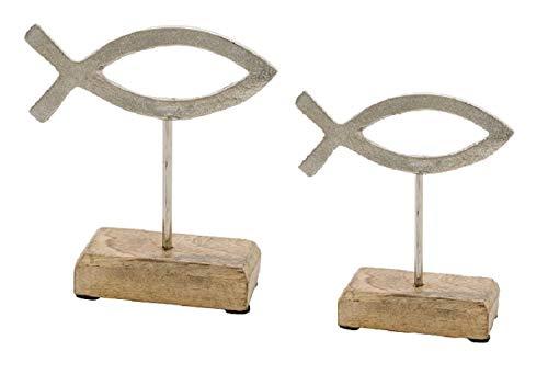 Deko-Aufsteller Fische/Fisch-Figur aus Metall auf Sockel auf Holz-Sockel - Deko-Figur - Geschenk-Idee Geld Kommunion Konfirmation Firmung & Taufe Tisch-Dekoration 2 Stück