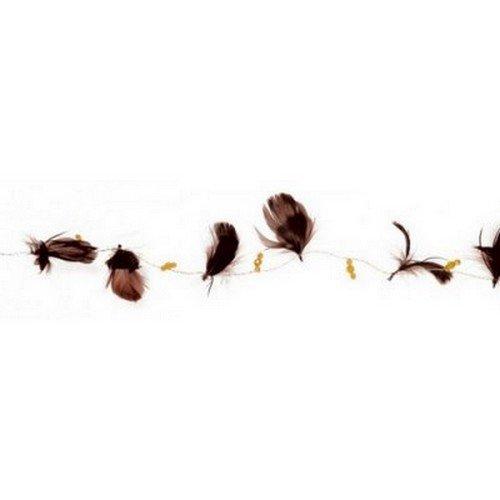Au plaisir des yeux - 1 Gurilande de plumes chocolat et perles ambres
