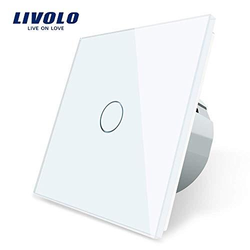 LIVOLO Blanc Commutateur de Lumière avec LED Affichage Light Capteur Tactile Panneau Verre Cristal EU Commutateur Standard 1 Gang 1 Voie, VL-C701-11-A