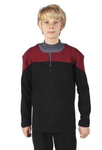Rot Kostüm Star Trek Voyager Uniform - Star Trek Voyager Uniform Oberteil Captain Baumwolle rot Größe S - Super Deluxe