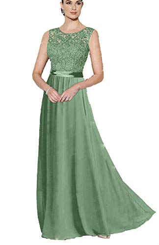 WTW Women's Long Lace Chiffon Formal Evening Party Gown Bridesmaid Dress-Sage Green-12 Sage Green Lace