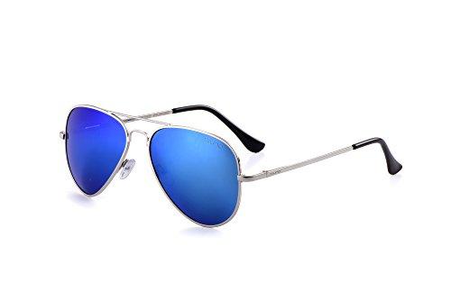 Miuno® Sonnenbrille Polarisiert Polarized Herren Damen Geschenkbox & Brillentuch Aviator Federscharnier 3025 Silbergestell (Hellblauverspiegelt)