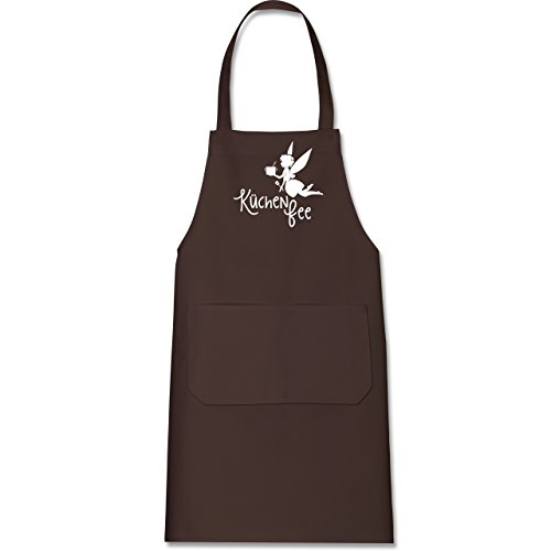 Küche - Küchen Fee - 80 cm x 73 cm (H x B) - Braun - X967 - Kochschürze mit Tasche (Kuchen Maler)