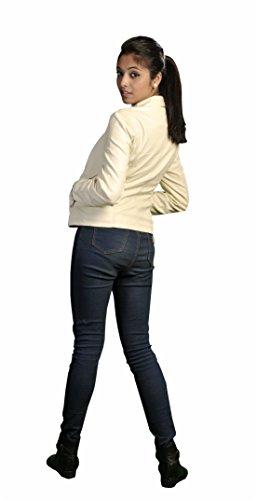 Donna Ecopelle Zip Pianura Up Ladies Giacca con cuciture dettaglio Cream