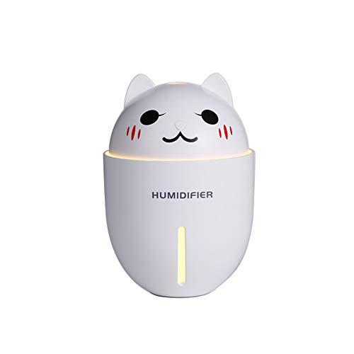 B5645ells Humidifier Lüfter LED-Licht USB Lufterfrischer Diffuser Cute Cat Ultrasonic - White