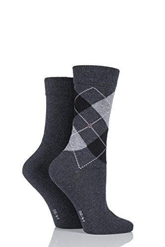 Damen 2 Paar Burlington Baumwolle und einfarbige Socken LIMITED EDITION Charcoal 2,5-6,5 Damen