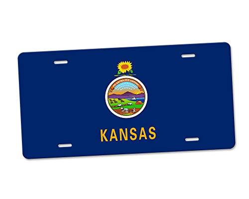 Fhdang Decor Kansas State Flag Aluminium-Nummernschild, Front-Kennzeichen, Vanity Tag 4 Löcher, Autozubehör, 15,2 x 30,5 cm -