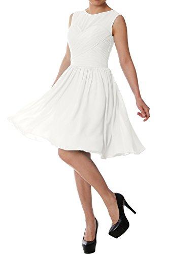MACloth Elegant O Neck Short Bridesmaid Dress Chiffon Wedding Party Formal Gown Ivoire