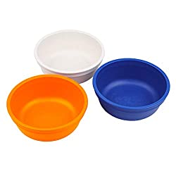 Re-Play Made in The USA 3pk Bowls for Easy Baby, Toddler, and Child Feeding - Orange, Navy, White (Sport)