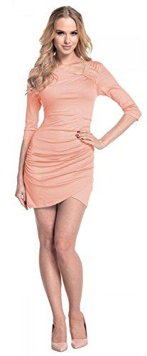 Glamour Empire. Femme Robe courte jersey. Manches courte devant plissé. 995 Abricot