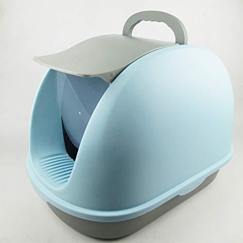 Kreatives KatzenstreubeckenKatzentoilette mit KlappdeckelGroße Weltraum-Abfallwanne Anti Splashing Deodoran,Komplett geschlossene Katzentoilette,lightblue -