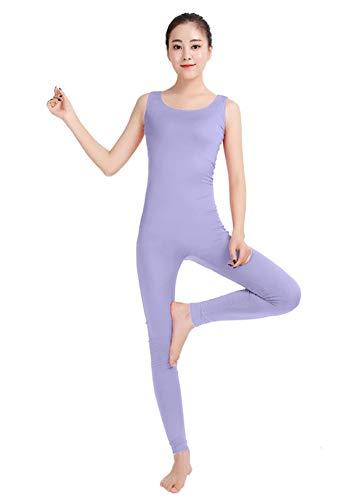 Insun Unisex Ganzkörperanzug Kostüm Ärmellos Bodysuit Zentai Einteiler Jumpsuit Hellviolett M