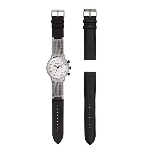 Breil - orologio da uomo six.3.nine tw1813 - cronografo con quadrante silver - cassa in acciaio 44 mm - cinturino maglia milanese mesh e pelle nera + cinturino pelle nera - movimento al quarzo
