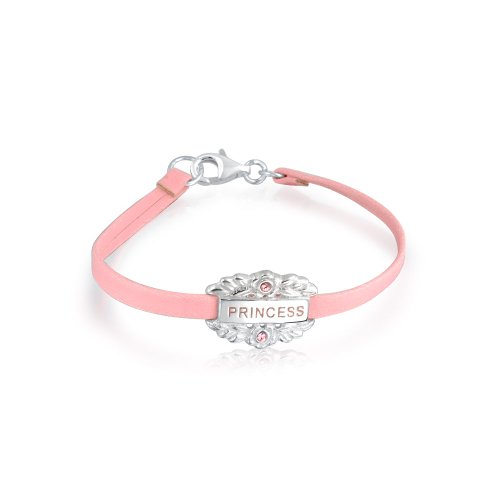 Bling Jewelry Petit Coeur Rose en Cuir Plaque Princesse Mot Nom Id Bracelet en Argent Sterling 925 Adolescents De 6 Pouces