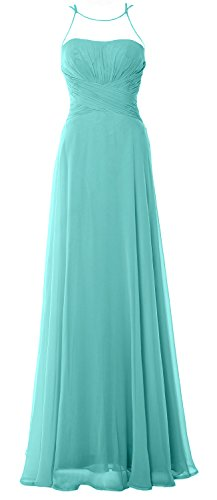 MACloth Women Halter Long Bridesmaid Dress Chiffom Simple Prom Party Formal Gown Turquoise