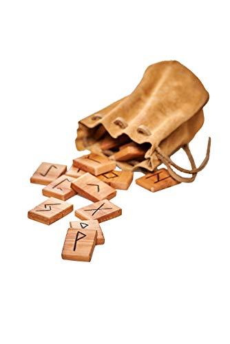runas piedras/Vikingo runas piedras Juego del Antiguas futhark/madera: Manzana barnizada/Mano de Maderas heimischen/Incluye ante Bolsa Color Marrón Claro/gebrannte caracteres/24unidades + 1pieza (vacíos de piedra)