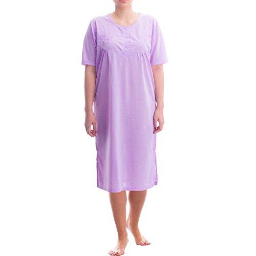 Lucky chemise de nuit à manches courtes pour femme uni féminin fine nuit été col rond Violet - Lilas