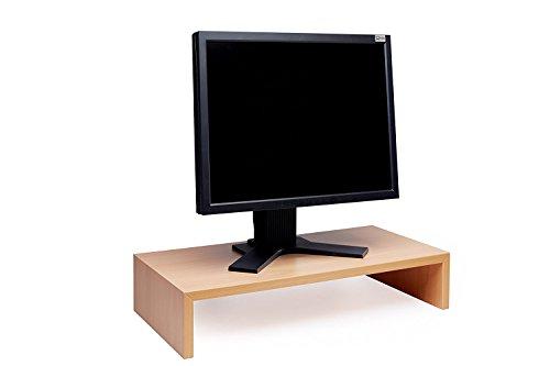 Design Monitortisch Bildschirm Ständer Monitor Erhöhung Schreibtischregal Standfuss Buche Natur verschiedene Größen Buche Natur B 75 x H 12 x T 30