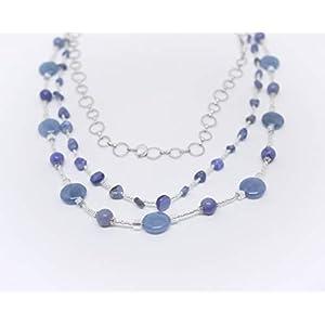 Dreireihige Designerkette mit Aquamarin und Aventurin Perlen