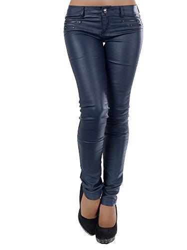 L521 Damen Jeans Hose Hüfthose Damenjeans Hüftjeans Röhrenjeans Leder-Optik, Farben:Dunkelblau;Größen:34 (XS) (Leder Knie Boot)