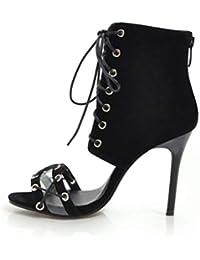 Jiahe Zapatos de Moda para Mujer Botines - Sandalias de Gamuza - Peep-Toe -