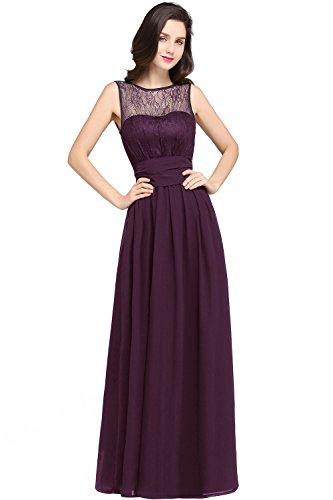 MisShow Damen Rund-Ausschnitt Abendkleid Abschlussballkleid Chiffon Festkleider Dunkel-Violet Gr.44