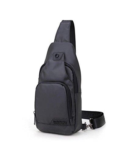 Imagen de doublevillages  de hombro bolsas de hombro / bolso pecho / bolso bandolera bolsa pecho / bolso deportivo/ bolsa sling crossbody messenger bag impermeable negro