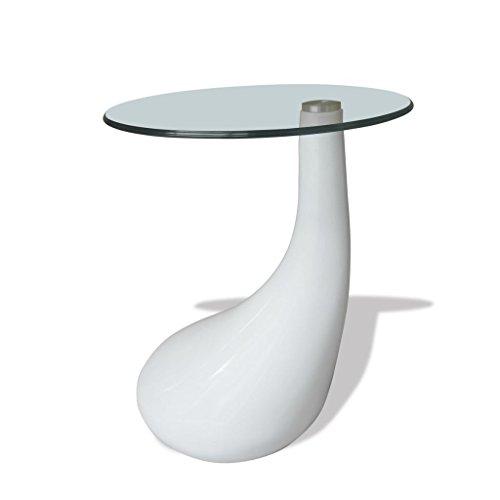 vidaXL Table basse de salon Lounge Tear verre trempé fibre de verre blanc brillant