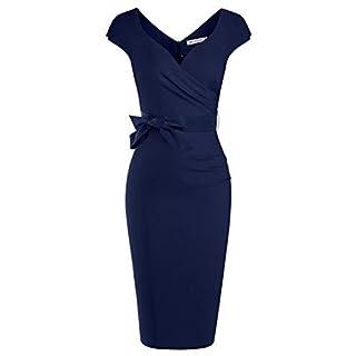 MUXXN Celebrity Fashion Pure Cap Sleeve Tie Ruffle Waist Prom Pencil Dress (Blue XXL)