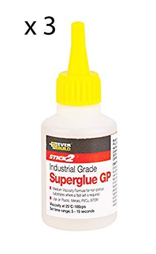 Everbuild Super Glue SuperGlue SuperGlue SuperGlue SuperGlue SuperGlue SuperGlue 20 g wiederverwendbare Flaschen, 3 Stück