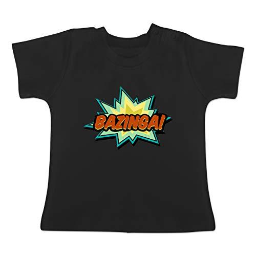 Up to Date Baby - Bazinga! - 18-24 Monate - Schwarz - BZ02 - Baby T-Shirt Kurzarm -