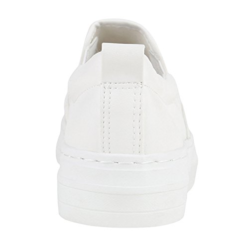 Damen Glitzer Slip-ons Plateau Metallic Slipper Mode Schuhe | Gr. 36-41 | Aktuelle Kollektion Weiss Metallic