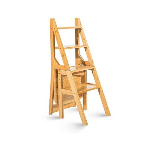 NISHANG Silla De Escalera Multifunción De Madera Maciza Silla For El Hogar Cocina Escaleras Plegables De Doble Uso Silla Móvil Escalera De 4 Escalones Taburete Ascendente (Color : Wood Color)