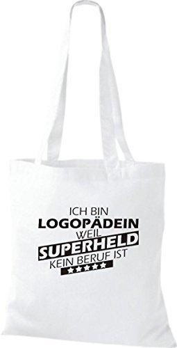 Shirtstown Stoffbeutel Ich bin Logopädin, weil Superheld kein Beruf ist weiss