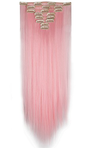 26 inches Long Straight 8 Piece Full Head 18Clips Womens Ladies Girls Clip in Hair Extensions Light Pink by (Pink Hair Extensions)