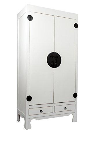 SAM® Hochzeitsschrank Mian aus Mahagoni, weiß lackiert, mit 2 Türen + Schubladen, Design-Dielenschrank aus Massivholz, Unikat, 90 x 50 x 180 cm -
