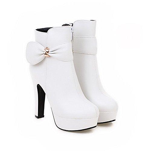VogueZone009 Damen Hoher Absatz Niedrig-Spitze Reißverschluss Stiefel Weiß