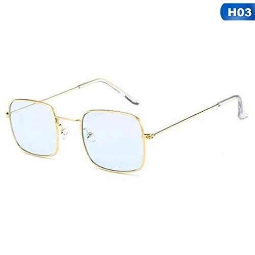 SLIJing Retro Small Square Frame Sunglass Women Fashion Metal Frame Shades Glasses(None Golden Box Blue)