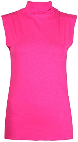 Da donna senza maniche da donna elasticizzato a forma di tartaruga Polo rotolo collo gilet tinta unita T-Shirt Jumper Top Cerise