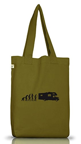 Shirtstreet24, EVOLUTION CAMPER, Camping Jutebeutel Stoff Tasche Earth Positive Leaf Green