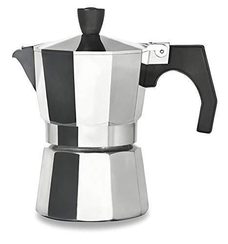 Cafetera espresso, Moka Caffè 3-12 Tazas, Cafetera, Aluminio, Diseño clásico con válvula de seguridad, Mango atemico, Hecho en España, 3 Tazzi (250 ml)