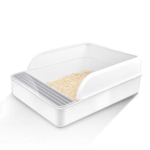 Katzentoilette mit Rand, Robuste Katzentoilette mit Abnehmbarem Rand für Eine Hygienische Reinigung mit Geschenk Streuschaufeln für Kleine und Mittlere Katzen,Weiß,S