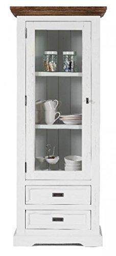 Möbelkultura OLYwohn1w-BC Lowboard TV Schrank, Holz, weiß / braun, 55 x 155 x 185 cm