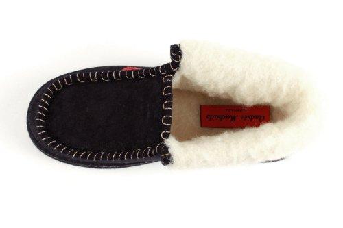 27902 - Andres Machado - Hausschuhe Knöchelhoch. Futter aus Lammwolle - Made in Spain Dunkelblau