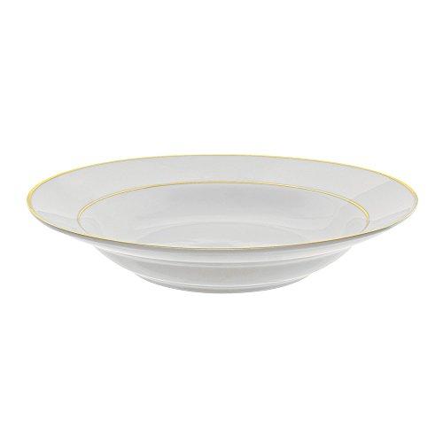 10 Strawberry Street GLD00036 Double Line Rim Soup Bowl, Set of 6, White/Gold by 10 Strawberry Street (Bowl Gold Soup Rim)