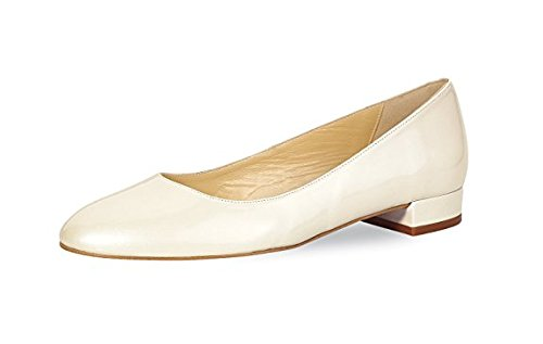 Fiarucci Brautschuhe Ballerina - Perle Patent, Creme, Lack-Leder, Flach, Hochzeitsschuhe, Blockabsatz 1,5 cm Tanzschuhe, Abendschuhe, Größe 36 (UK 3) (Ballerina Leder Flache Schuhe Patent)