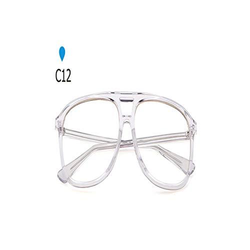 Daawqee Prämie Sonnenbrillen,Brillen, Retro Pilot Sunglasses Brand Women Men 90S Trendy Oversized Flat Top Clear Black Sun Glasses Big Shades SP277